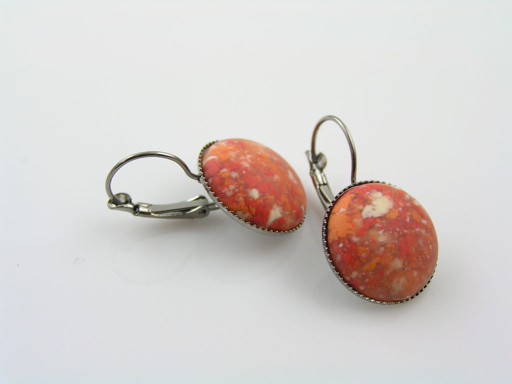 Vintage Red Cabochon Earrings