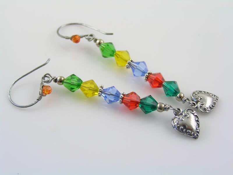 Wire Wrapped Colourful Crystal Earrings with Heart Charms