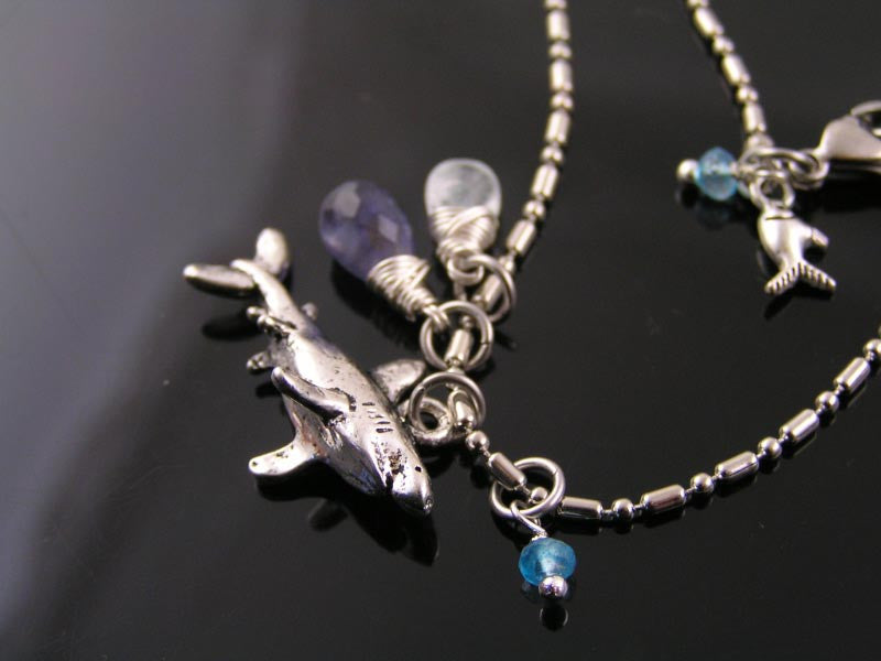 Save the Sharks - Necklace with Iolite, Aquamarine and Mystic Quartz