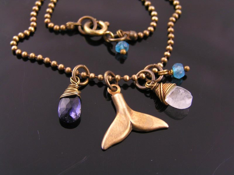 Whale Tail Charm Necklace with Iolite, Aquamarine and Mystic Quartz