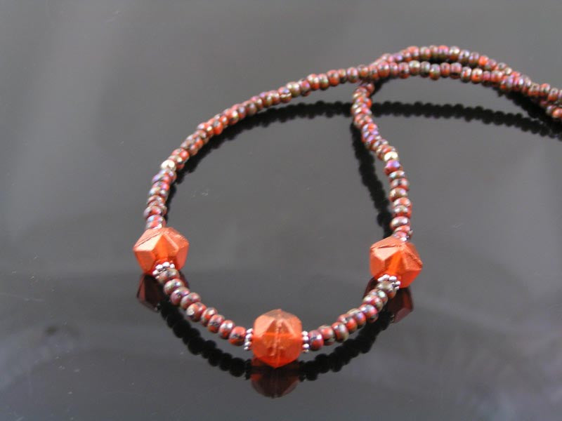 Beaded Necklace, Burgundy Brown