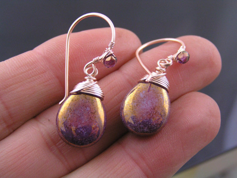 Rose Gold Earrings with Wire Wrapped Czech Glass Drops
