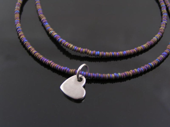 Initial Heart Necklace, Tiny Purple Beads