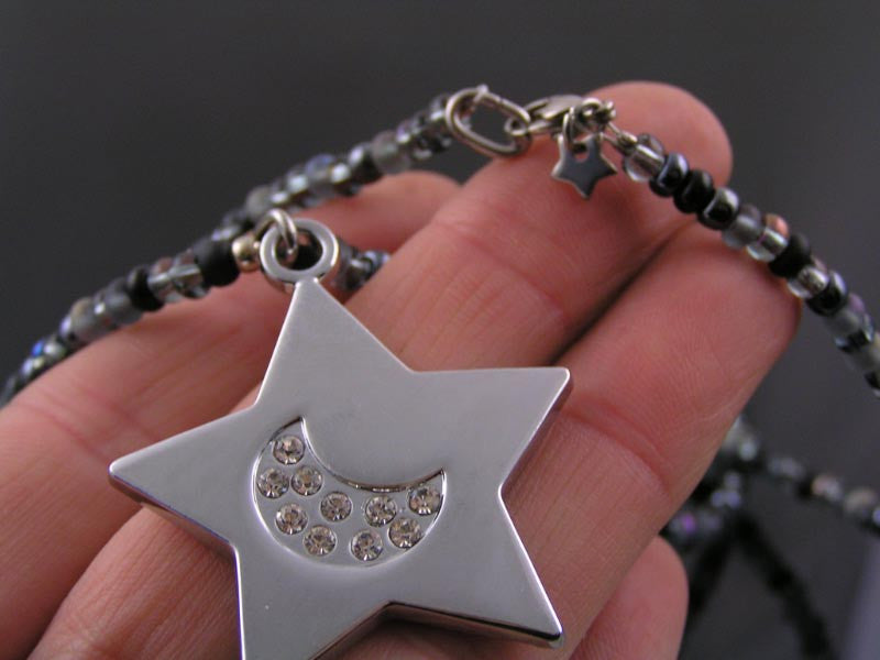 Star and Moon Necklace, Crystal Set