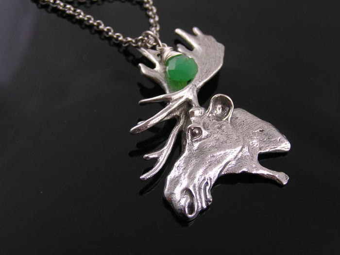 Moose Necklace with Chrysoprase (Sam's Birthstone), Supernatural Necklace