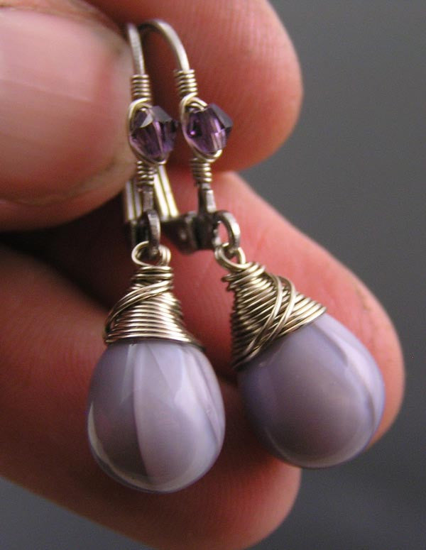 Wire Wrapped Purple Earrings