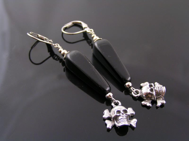 Cool Skull and Czech Bead Earrings