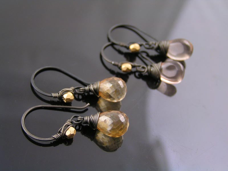 Mystic Quartz Earrings, Black Iron