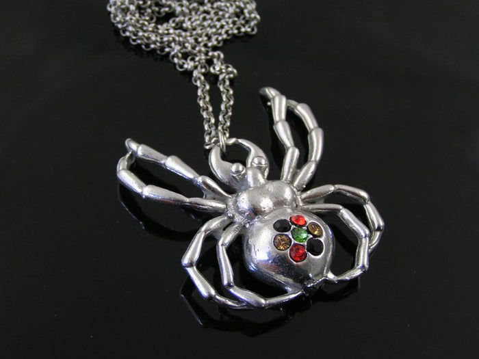 Large Spider Necklace, set with Crystals