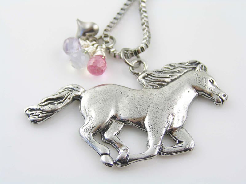 Horse Necklace with genuine Cubic Zirconia