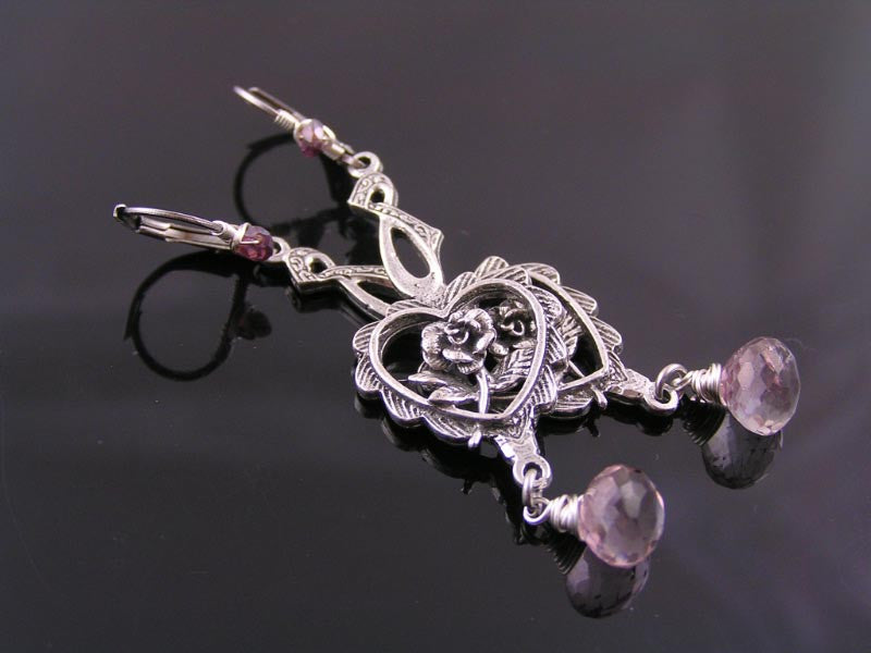 Amethyst and Garnet Heart Chandelier Earrings