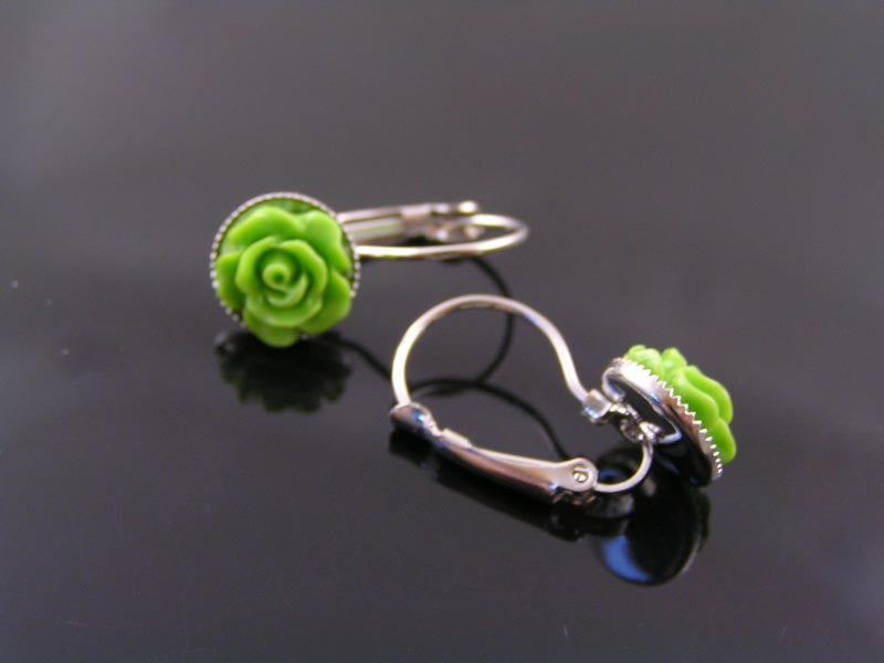 Chartreuse Green Flower Earrings