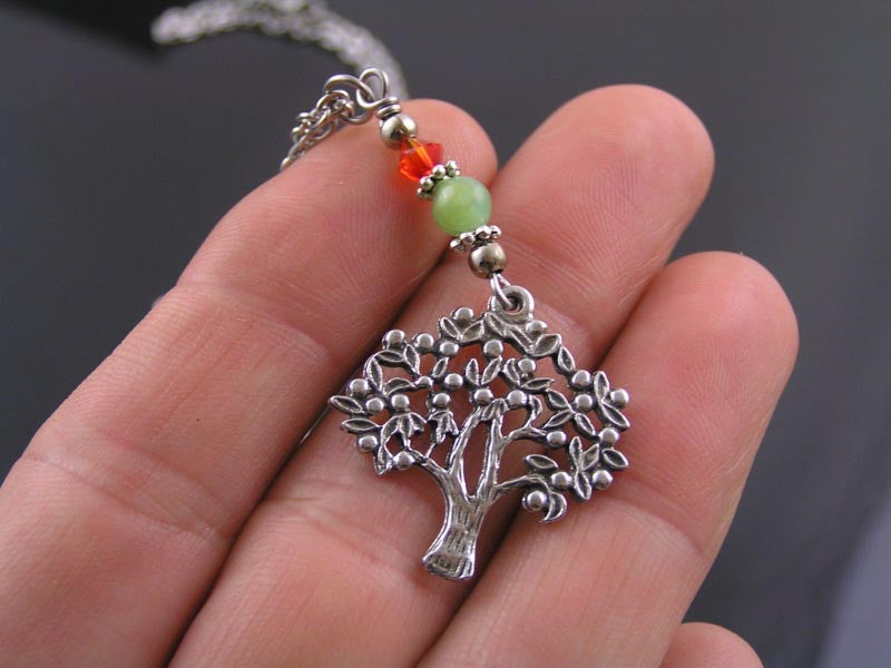 Tree of Life Necklace with Chrysoprase and Swarovski Crystal