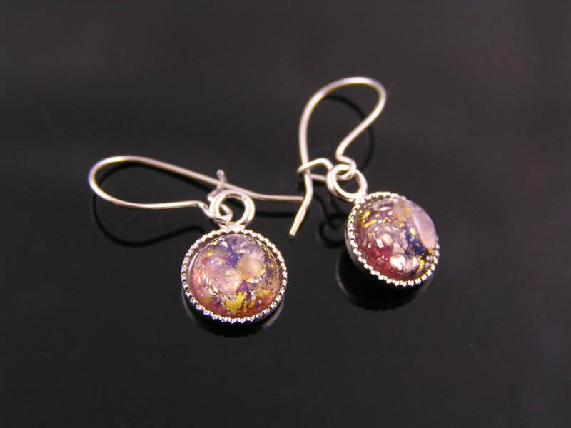 Sterling Silver Earrings with Glass Opal