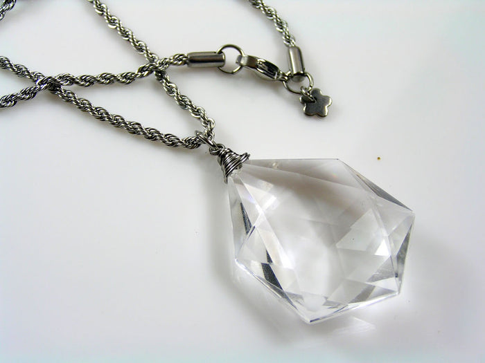 Rope Necklace with Large Acrylic Diamond.