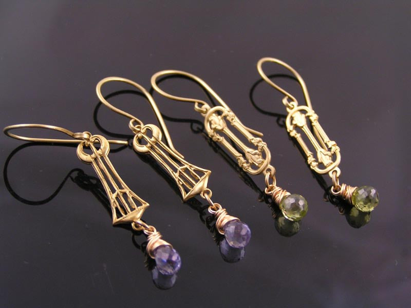 Art Deco Chandelier Earrings with Mystic Quartz