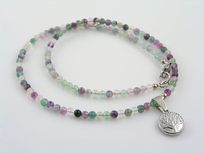Fluorite Necklace with Cute Tree of Life Pendant