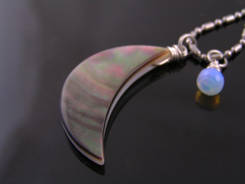 Carved Mother-of-Pearl Crescent Moon Necklace