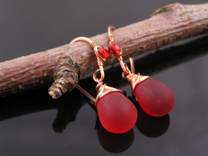 Wire Wrapped Red Sea Glass Earrings in Copper