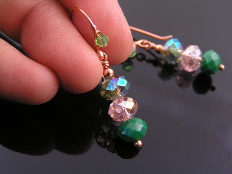 Wire Wrapped Copper Earrings with Green Crystals
