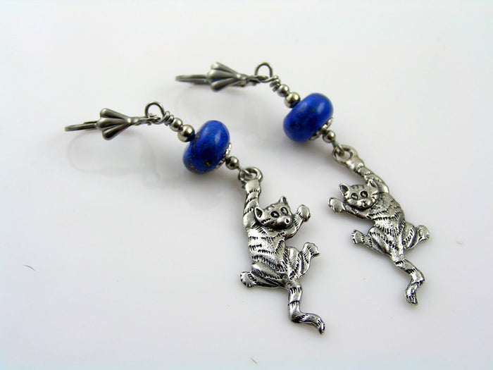 Climbing Cat Earrings with Lapis Lazuli