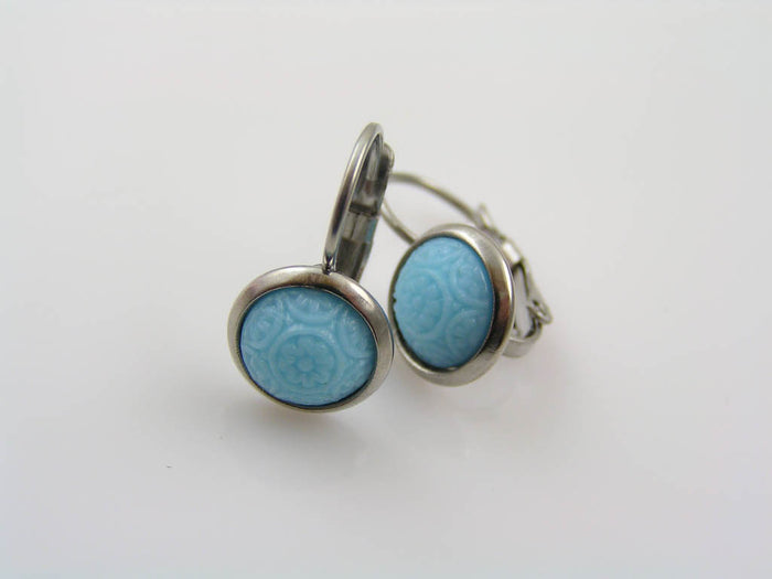 Blue Earrings with Vintage Mosaic Cabochons