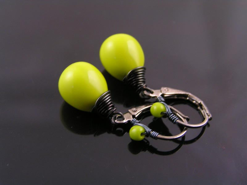 Chartreuse Green Earrings, Wire Wrapped Lever Back Ear Wires