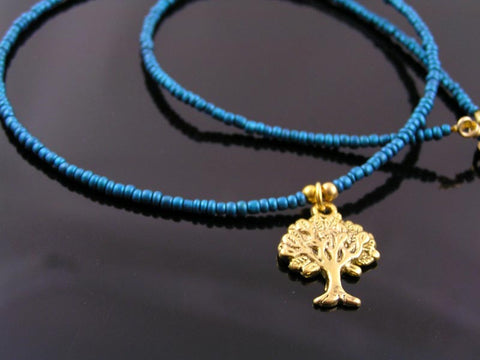 Tree of Life Necklace, Gold Pendant with Teal Seed Beads