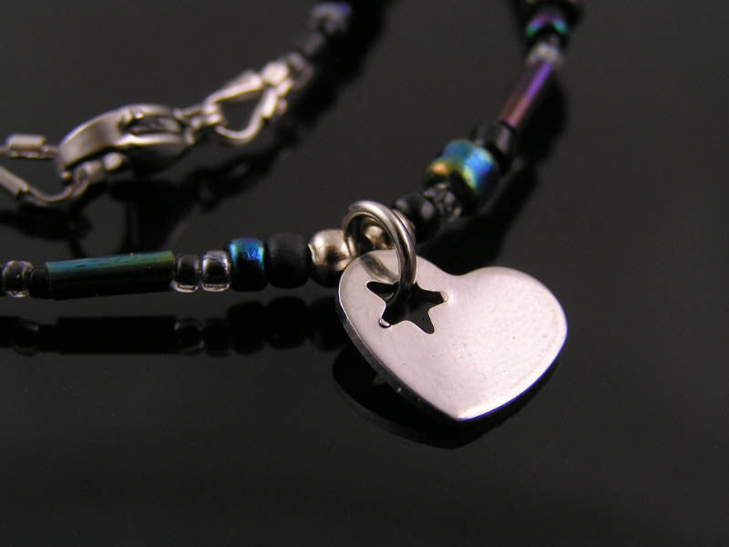 Cute Beaded Necklace with Heart Charm, Customizable