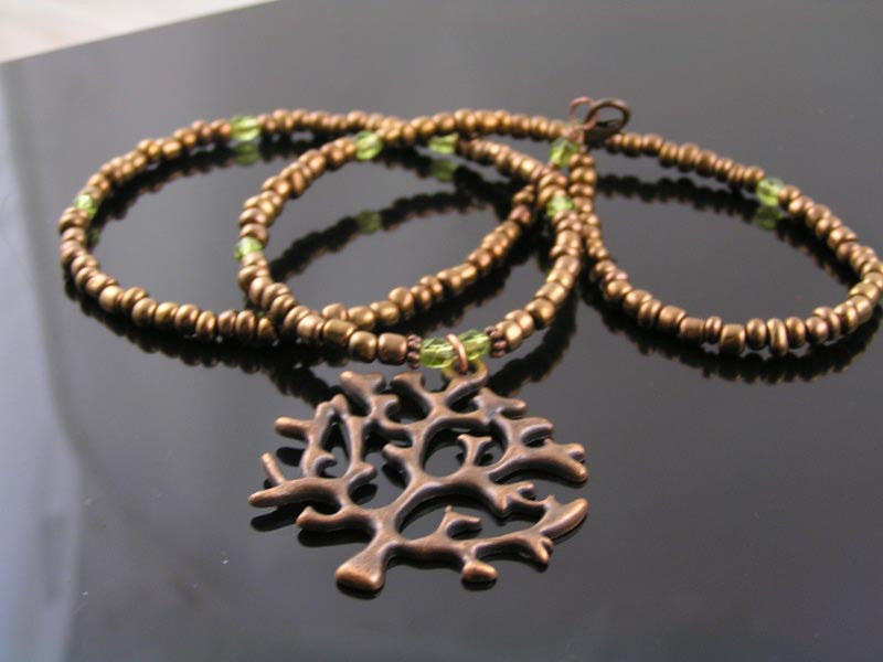Copper Tree of Life Pendant, Bronze Seed Bead Necklace