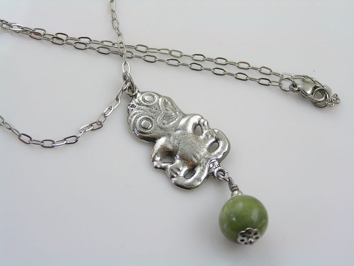 Tiki Necklace with Greenstone, Bowenite Gemstone