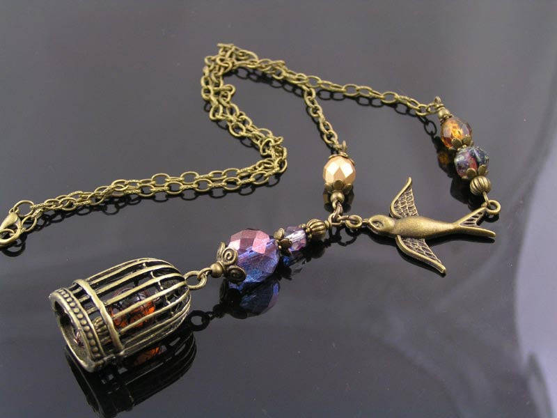 Birdcage Pendant and Bird Charm Necklace