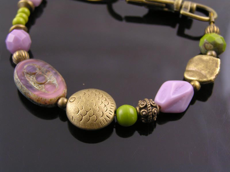 Lilac and Chartreuse Green Bead Bracelet