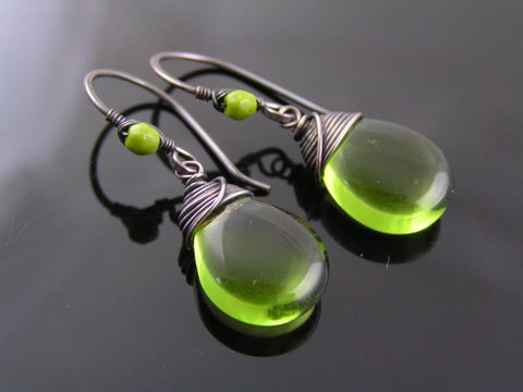 Olivine Drop Earrings, Czech Glass with Solid Copper