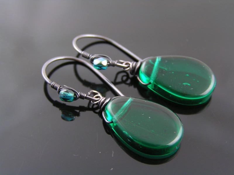 Wire Wrapped Green Earrings