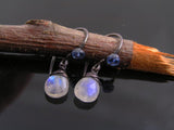 Rainbow Moonstone Earrings, wire wrapped with blue Kyanite