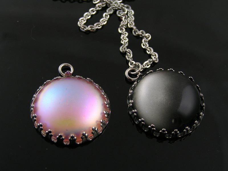 Two Strand Necklace with Black Cat's Eye Pendant