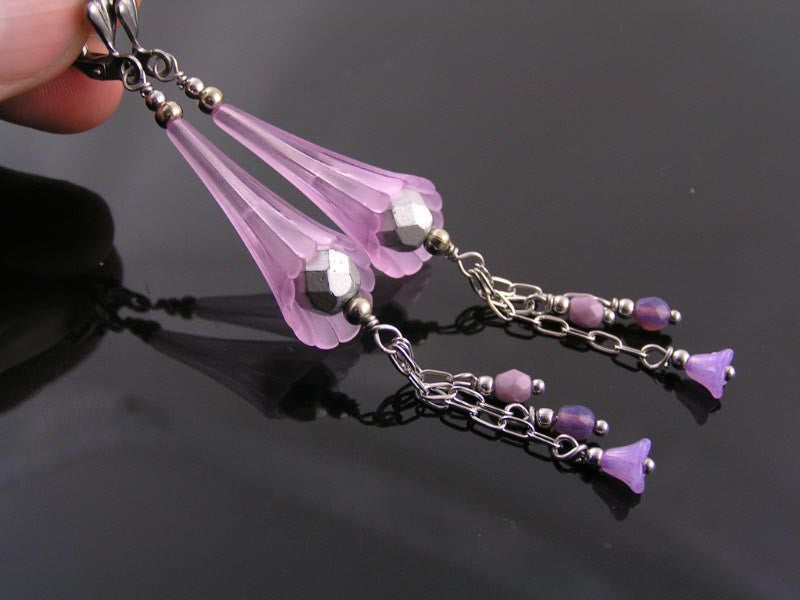 Lavender and Silver Bead and Flower Earrings
