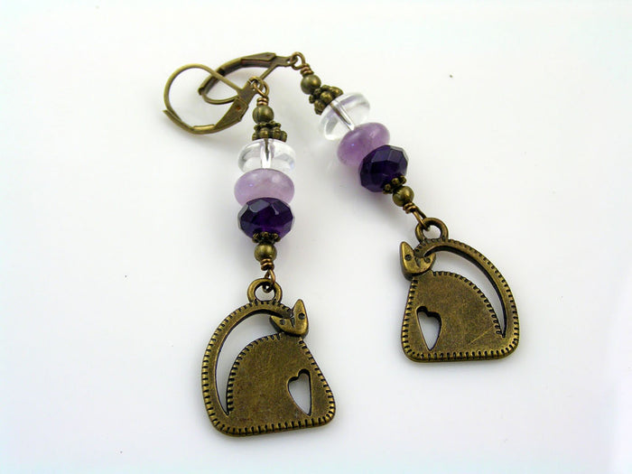 Cat Earrings with Quartz, Jade and Amethyst