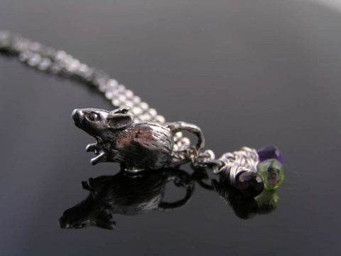 Cute Mouse Charm Necklace with Amethyst, Peridot and Garnet