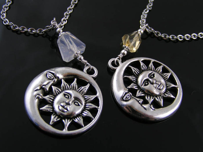 Sun Moon Necklaces (2) with Citrine and Ice Quartz