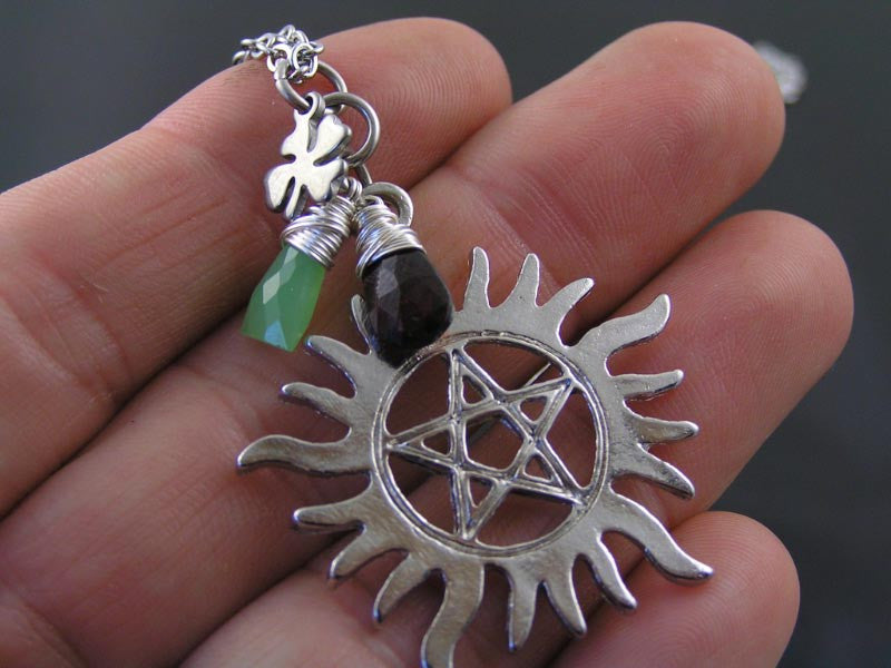 Supernatural Anti-Possession Necklace with Dean's and Sam's Birthstones