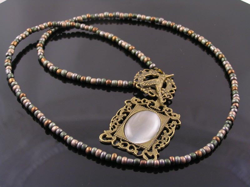 Victorian Necklace with Cats Eye Pendant