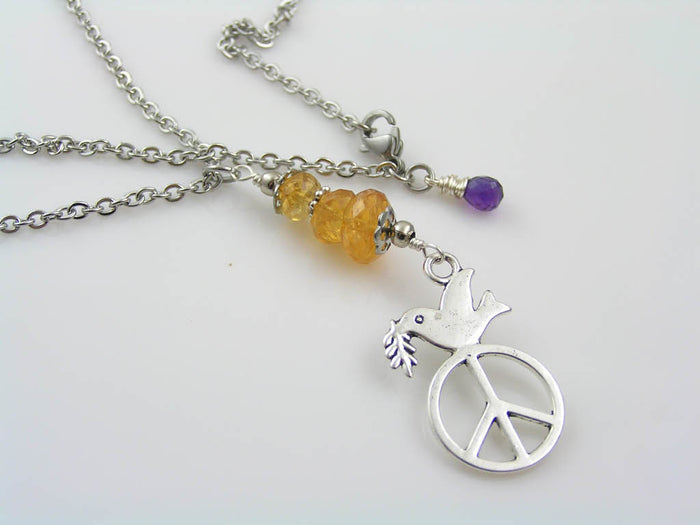 Cute Peace Sign Necklace with Golden Citrine