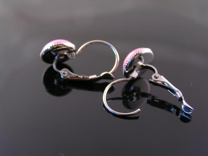 Pink and Silver Earrings, Cuff or Sleeper Style
