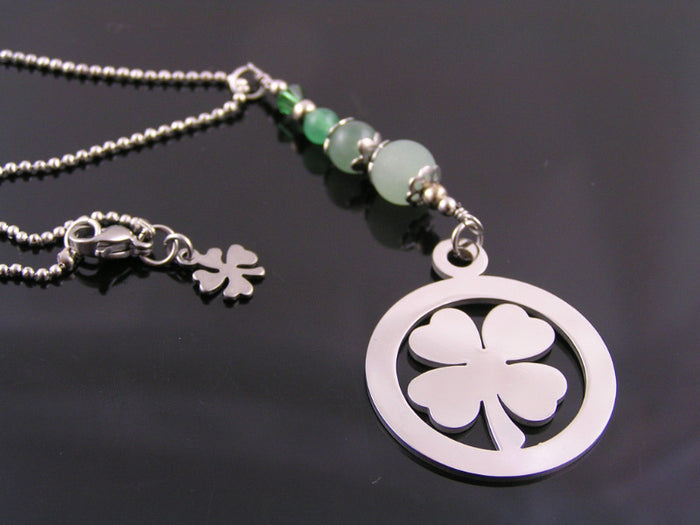 Good Luck Necklace with Four Leaf Clover Charms and Green Aventurine