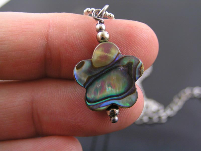 Natural Abalone or Paua Shell Flower Necklace, Matching Earrings Available