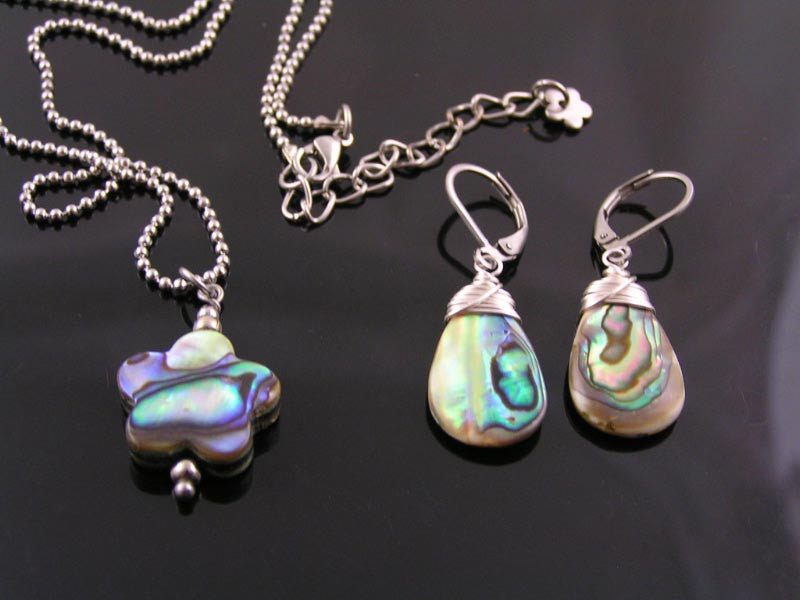 Natural Abalone or Paua Shell Earrings