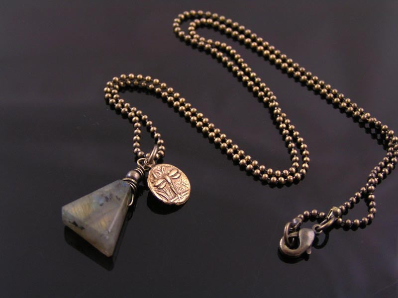 Labradorite and Solid Brass Necklace