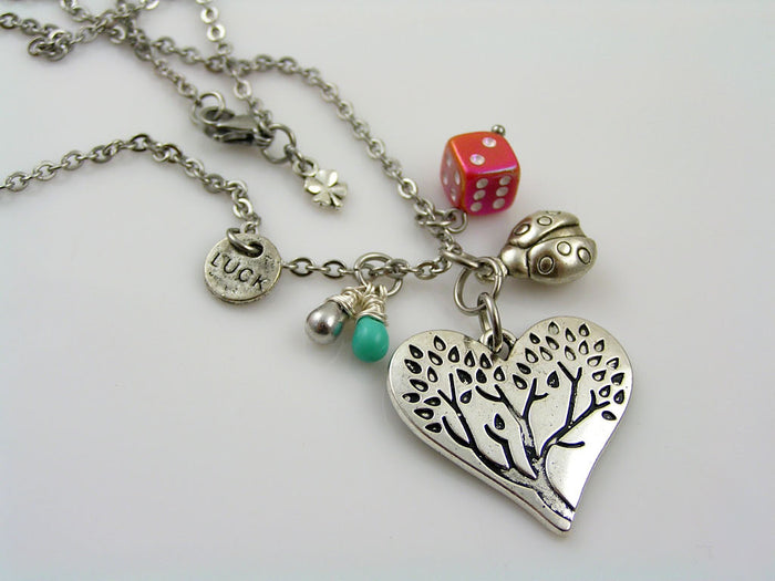 Good Luck Necklace with Tree of Life Pendant, Dice Charm and wire wrapped Czech Glass Drops